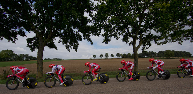 Russia's Katusha team trains for the World Road Championship Cycling men's team time trial event near Valkenburg, southern Netherlands. Source: AP / Peter Dejong