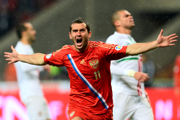 Russia's national football team defeated its counterpart from Portugal in a qualifying football match for the 2014 World Football Championship. Source: RIA Novosti / Alexey Philipov