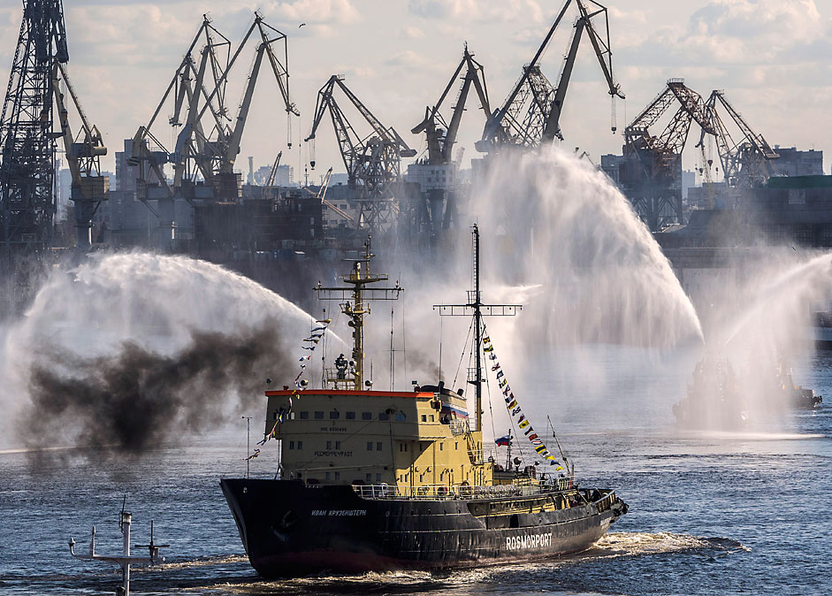 The Ivan Kruzenshtern icebreaker on the Neva River during an icebreakers festival that marks the 70th anniversary of the Victory in World War II and the deeds of the WWII Arctic convoys which sailed from the United Kingdom, Iceland, and North America to northern ports in the Soviet Union.