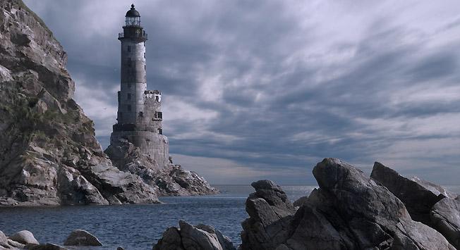 Заливот Анива и светилник на островот Сахалин.