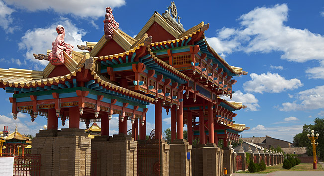 Southern gates of the Golden Temple of Shakyamuni Buddha in Elista, Kalmykia.