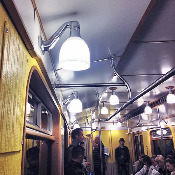 Sunday: Vintage style underground carriage in Moscow metro.
