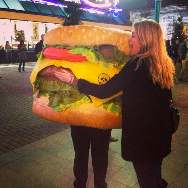 Friday. Despite the growth in Russians' interest in healthy street food, their love of fast food can't be beat. This human hamburger was tagged in many Moscow Instagram accounts.