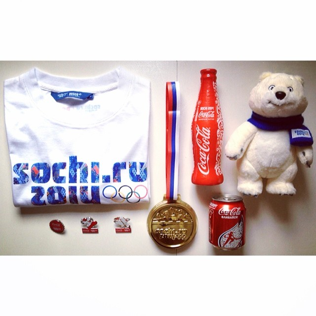 Sunday. Sochi souvenirs. Curiously enough, Coca-Cola and Fanta first came to the Soviet Union as the official beverages of the 1980 Moscow Olympics. The Coca-Cola Company was able to sign its contract with the Soviet government before the United States called for the whole world to boycott the Games.