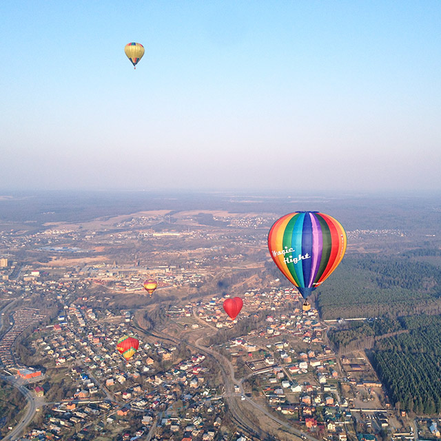 Sunday. Take off in a hot air balloon and you'll understand that all your problems are tiny compared to the wide-open, beautiful sky! See Russia from a bird's eye view here.