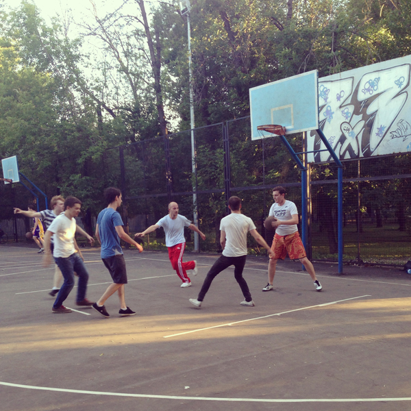 Saturday: While young basketball players are trying to show their best in Moscow's Festivalniy park...