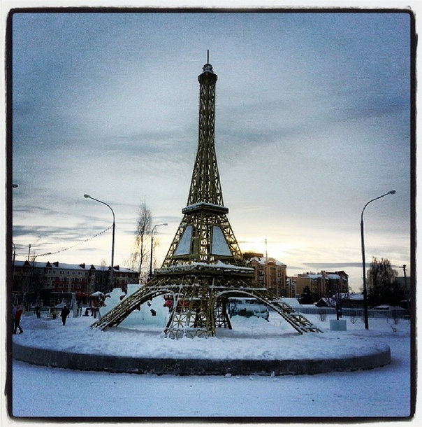 Sunday. Meanwhile, in the town of Yugorsk, you can see the Eiffel Tower. Sure, you'll have to travel 2243 km (1394 miles) to the east of Moscow, but that's still 600 km (373 miles) closer than Paris! Find out more about interesting places in Russia.