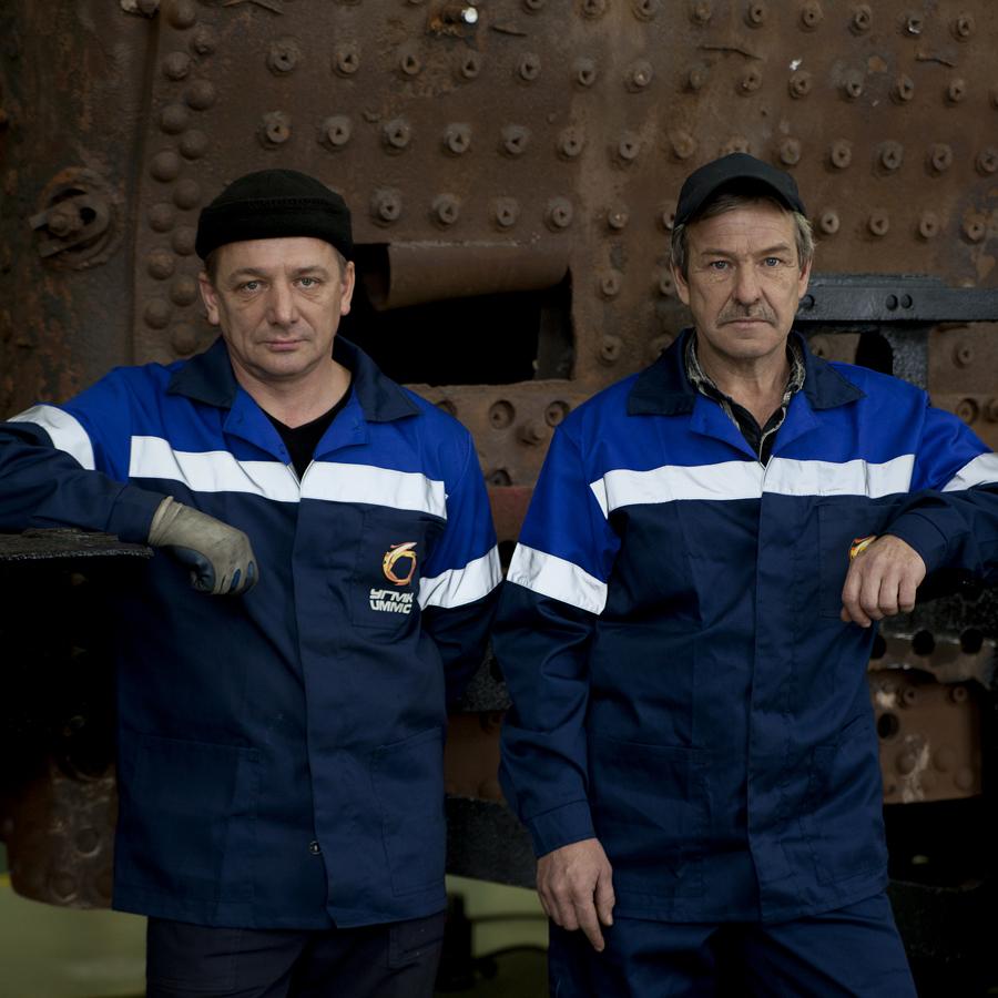 Sergey Kochnev, 47, tinsmith; currently working on the restoration of an OV-type locomotiveSergey Ulyashin, 50, car mechanic; currently working on the restoration of an OV-type locomotive