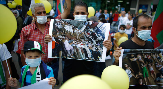 Syrians living in Bulgaria protest against a chemical weapons attack in Damascus. Photo: Reuters