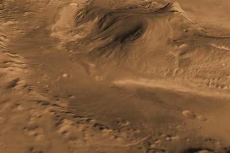 Computer-generated vista mostra cratera Gale, selecionada pela Nasa como local de pouso para a missão Mars Science Laboratory em agosto. Illustração: NASA