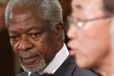 O secretário-geral da ONU Ban Ki-moon disse em uma comunicado nesta quinta-feira que Annan tinha decidido não renovar seu mandato, que vai expirar no dia 31 de agosto. Foto: AP