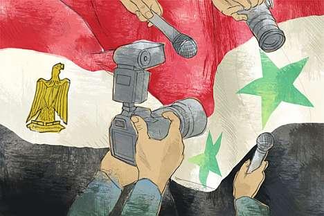 Enquanto outros países alcançam cidadãos médios do mundo todo com ferramentas midiáticas, Rússia ficou para trás, como mostra situação síria. Ilustração: Natália Mikhailenko