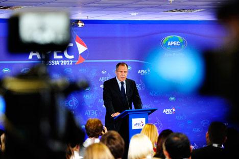 Ministro dos Negócios Estrangeiros fez discurso durante cúpula da Apec em Vladivostok, no Extremo Oriente do país. Foto: TASS