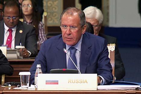 O ministro russo dos Negócios Estrangeiros de Rússia, Serguêi Lavrov na Conferência sobre a Interação e as Medidas de Confiança na Ásia (CICA). Foto: mid.ru