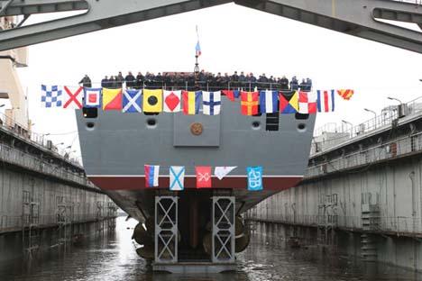 """O """"Admiral Gorchkov"""", primeiro navio da Marinha russa construído com a tecnologia stealth. Foto: nordsy.spb.ru"""