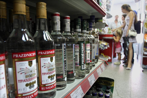 Nos supermercados, oferta chega a 70 tipos de vodca. Foto: AFP/eastnews