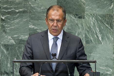 Serguêi Lavrov ante Assembleia Geral da ONU. Foto: mid.ru