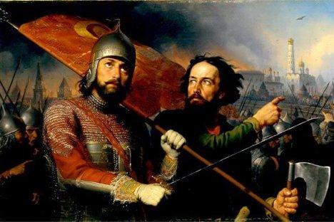 Mínin e Pojárski, os lideres que uniram o povo russo no ano 1612, no retrato de  Mikhail Scotti.
