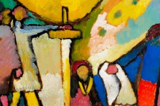 """A tela """"Estudo para a Improvisação 8"""", produzida pelo russo Vassíli Kandinski em 1909."""