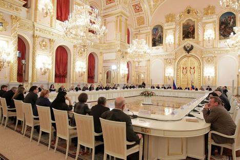 Reunião do Conselho de Direitos Humanos da presidência nesta segunda-feira (12).Foto: президент.рф