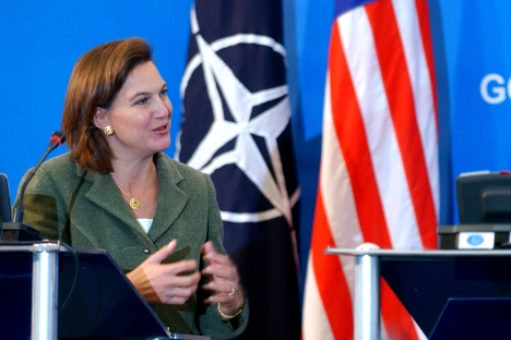 O porta-voz do Departamento de Estado dos EUA Victoria Nuland recorda à Rússia que o programa Nunn-Lugar, também conhecido como o Programa de Redução de Ameaças Cooperativa, expira em Junho de 2013.Foto: AP