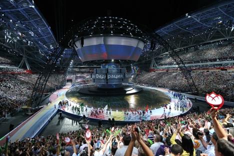 Com capacidade para 45 mil espectadores, Kazan Arena sediou a cerimônia de abertura dos jogos Foto: RG