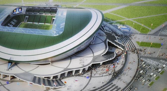 Estádio de Kazan, cujo gasto atingiu US$ 439,7 milhões, será usado para a Universíada antes de abrigar os jogos da Copa do Mundo de 2018 Foto: Itar-Tass