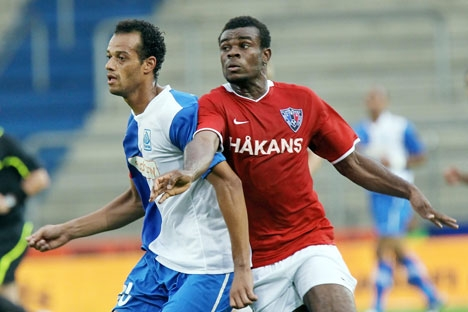 Zagueiro João Carlos (esq) foi recentemente transferido do Anji para o Spartak Foto: AFP / EastNews