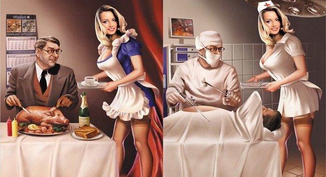 Na URSS, o ato sexual em si, assim como os órgãos sexuais, eram conhecidos apenas por palavrões obscenos ou termos médicos e nem um nem outro criavam incentivo para uma conversa franca Ilustração: Valéri Baríkin