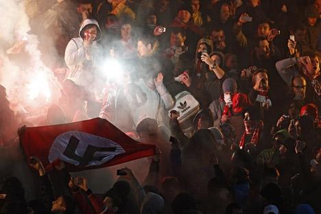Torcedor foi condenado pela exibição de emblemas e símbolos fascista Foto: RIA Nóvosti