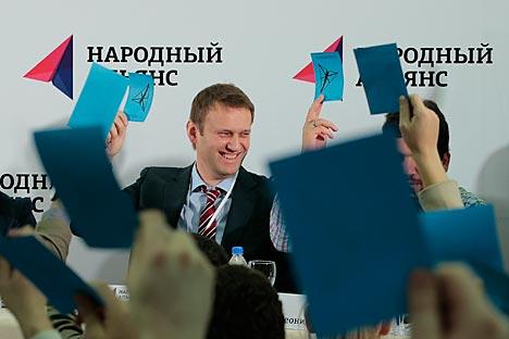 Após ser eleito Návalni agradeceu aos presentes pelo apoio recebido e prometeu atender a suas expectativas Foto: Reuters