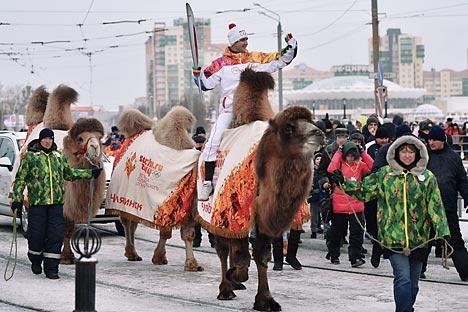 """O """"camelo olímpico"""" havia sido selecionado em um concurso na véspera Foto: RIA Nóvosti"""
