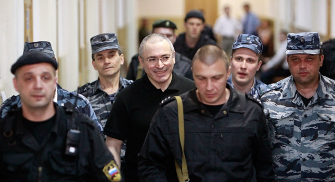 In late 2010, a court sentenced Khodorkovsky and Lebedev to 14 years in prison each on charges of stealing 200,000,000 tons of oil and money laundering. Source: Reuters