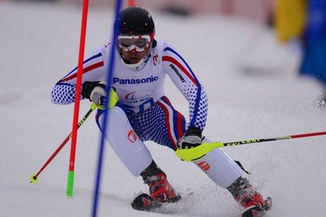 Váleri Redkozubov conquistou o outro nos Jogos Paraolímpicos de Sôtchi no slalom para atletas com deficiência visual Foto: RIA Nóvosti