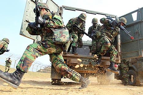 Exercícios ajudaram a aumentar o nível de treinamento individual dos soldados Foto: AP
