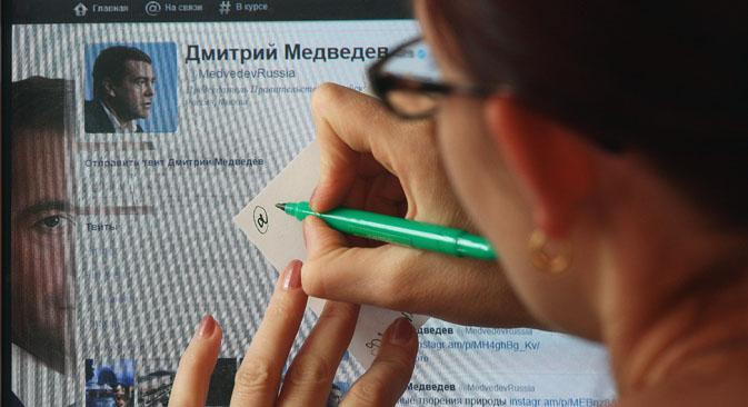 Primeiro-ministro Dmítri Medvedev criou uma conta no Twitter em 2010 Foto: ITAR-TASS