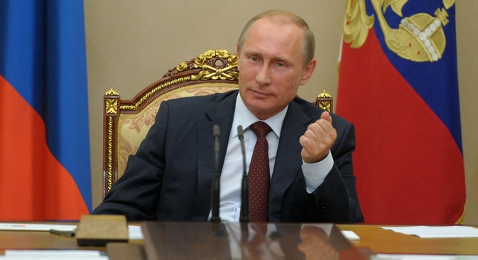 A pesquisa mostra que 30% dos russos encaram o fortalecimento das posições do país no cenário internacional como um feito importante de Pútin Foto: RIA Nóvosti
