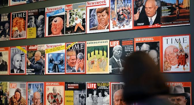 A exposição dá grande atenção à política internacional de Khruschov Foto: Vladímir Pésnia/RIA Nóvosti