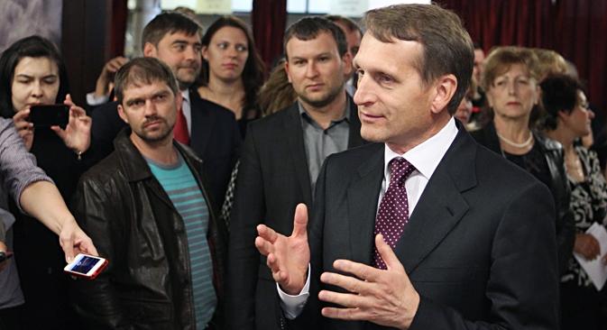 """""""Lamentavelmente, a imprensa ocidental multiplica apenas as opiniões e declarações antirrussas"""", disse Naríchkin Foto: Serguêi Kúksin/RG"""