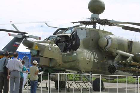 Helicóptero de ataque Mi-28NE é um dos destaques da LAAD-2015, no Riocentro   Foto: TASS