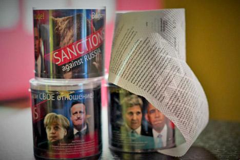 """O papel higiênico """"Nash otvet"""" (""""Nossa réplica"""") está a venda por 990 rublos (cerca de R$ 50) pela internet. Foto: Kirill Koliássin"""