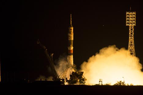 O lançador Soiuz-FG decolou do Cosmódromo de Baikonur, no Cazaquistão, às 03:03 da quinta-feira no horário local Foto: NASA