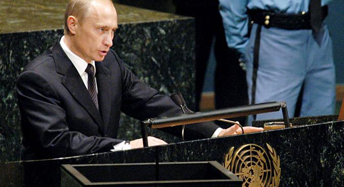Pútin se dirigiu à Assembleia Geral da ONU em 2000, 2003 e 2005 Foto: EPA