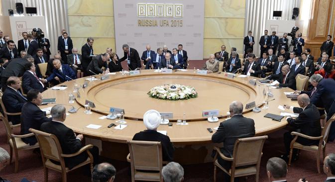Apesar de a comunidade internacional não esperar declarações políticas, grupo pediu fim do conflito palestino-israelense e a inclusão de Jerusalém oriental ao território palestino. Foto: BRICS2015