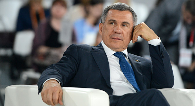 Minnikhanov durante Fórum Inovações Abertas 2014, em Moscou Foto: Evguêni Biatnov/RIA Nôvosti