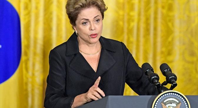 "Dilma: ""Estou pronta para falar ao presidente Pútin sobre as possibilidades que o Programa de Investimentos Infraestruturais abrem aos investidores russos"" Foto: Photoshot/Vostock-Photo"