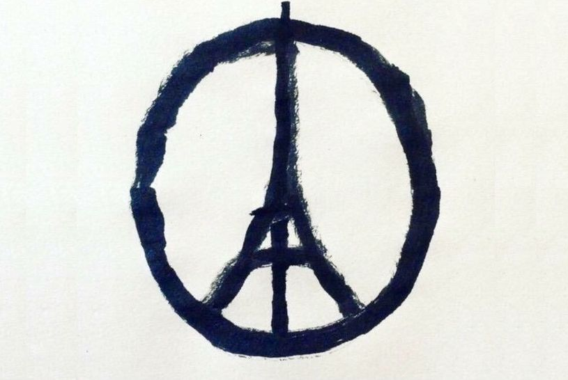 The Eiffel Tower peace sign has emerged as a symbol of support after the attacks. Source: Jean Jullien