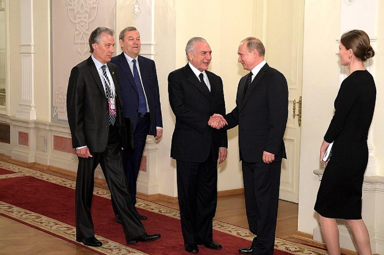 Temer e Pútin tiveram encontro informal no primeiro dia; reunião bilateral acontece nesta quarta
