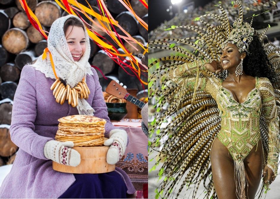 Máscaras venezianas, carros alegóricos cariocas e panquecas russas são parte de uma única tradição: a despedida pagã do inverno e os preparativos para a Páscoa.