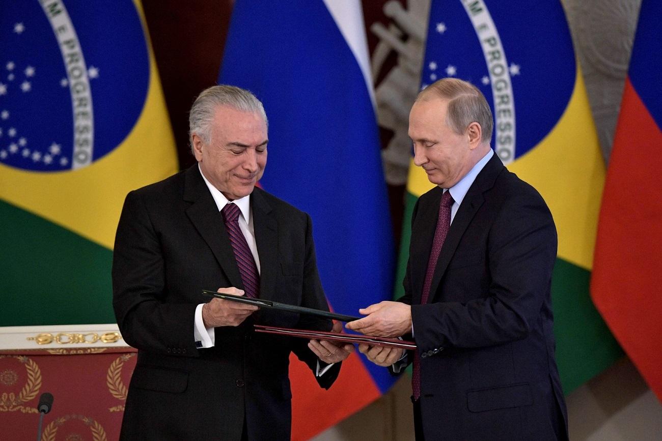 Ano de 2018 marcará 190 anos do estabelecimento relações diplomáticas entre Brasil e Rússia, enfatizou Pútin